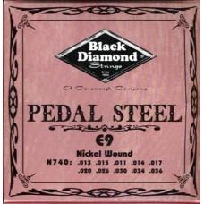 N740 Black Diamond Nickel Wound Pedal Steel String Set, 10 String, E9 Tuning