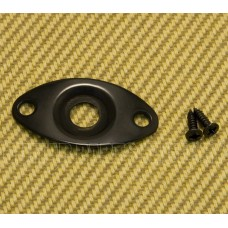 006-2390-000 Fender/Squier Black Football Recessed Guitar/Bass Jack Plate