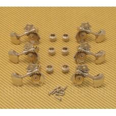 008-1000-044 Open Gear Tuners Nickel Butter Bean Buttons 3+3