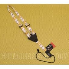 099-0630-004 Fender Monogrammed Uke Ukulele Strap WHT/BRWN/YLW 0990630004