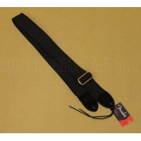 099-0667-006 Genuine Fender Classic Black Cotton/Leather Strap for Guitar/Bass 0990667006