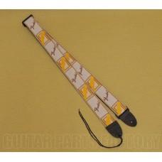 099-0683-000 Genuine Fender Monogram Natural/Brown/Yellow Strap for Guitar/Bass 0990683000