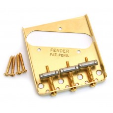 099-0806-200 Fender Gold Vintage Tray 3-saddle Telecaster/Tele Bridge USA 0990806200