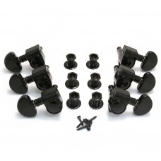 102-18BC Grover Rotomatic 18:1 Guitar Machine Head Tuners - Set of 6 3+3 BLACK