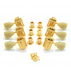 135G Grover Vintage Die-Cast Tuners, Set of 6 (3+3), 14:1 Ratio Gold Finish