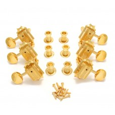 136G Grover Vintage Gold Round Button 3+3 Tuners