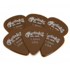 18AP4100 (6) Martin & Co USA Brown 351 1.0mm Medium Nylon Guitar Picks