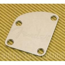 770-8383-000 Fender Guitar Strat/Tele Deluxe Chrome Neck Plate w/ Spaghetti Logo 7708383000