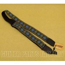 922-0060-104 Gretsch G Brand Guitar or Bass Strap Blue/Orange Black Ends 9220060104