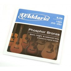 EJ16 D'Addario EJ16 Phosphor Bronze Light Acoustic Guitar Strings .012-.053