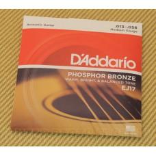 EJ17 D'Addario Phosphor Bronze Acoustic Guitar Strings Medium 13-56