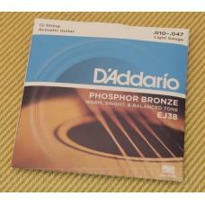 EJ38 D'Addario 12-String Phosphor Bronze Light 10-47 Acoustic Guitar Strings