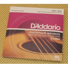 EJ38H D'Addario Phosphor Bronze Acoustic Guitar Strings Nashville Tuning 10-27
