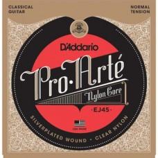 EJ45 D'Addario Classical Guitar Strings Pro-Arte Nylon Strings, Normal Tension