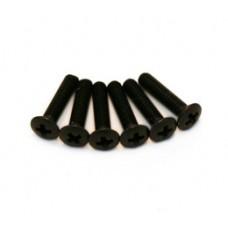 (6) SHORT BLACK TUNER BUTTON SCREWS