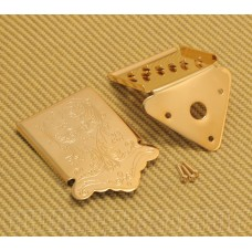 MANDO-TG Gold Mandolin Tailpiece & Ornate Cover w/ Mounting Screws