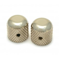 MK-0110-001 (2) Nickel Dome Knobs for Solid Shaft Pots