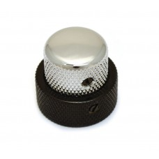 MK-3338-000 (1) Black/Chrome Stacked Knob for '62 Jazz Bass/CTS Stack Pot