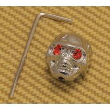 MK-SKULL-010 (1) Chrome Skull Knob with Red Eyes for Guitar/Bass