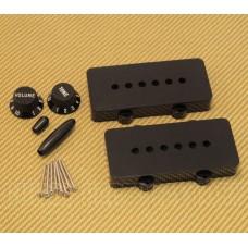 PC-JAZZKIT-B Black Accessory Kit For USA Fender Jazzmaster Guitar - Knobs/Covers/Tips/Screws