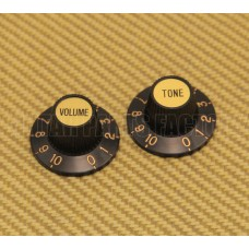 PK-0140-G (2) Black & Gold Witch Hat Knobs Guitar/Bass For 6mm Pots T/V