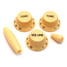 PK-0178-028 Cream Knob Set For Fender Strat Guitar w/ Tremolo & Switch Tip