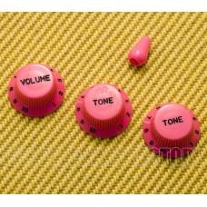 PK-0178-HP Hot Pink w/White Lettering Import Knob Set for Strat