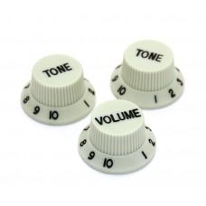 PK-0178-IMP Mint W/Black Lettering Knob Set for Import 6mm Pots Strat Style