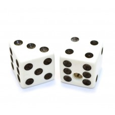 PK-3250-025 (2) White Dice Knobs for Solid Shaft Pots Guitar & Bass