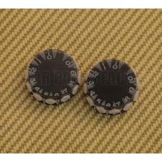 PK-KN021 (2) Black Metric 1-10 Speed Knobs 6mm w/ Plastic Grips Guitar/Bass