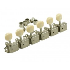 SD91PLN-L-DR Kluson Deluxe 6 Per Plate Guitar Tuners w/ Oval Buttons