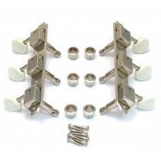 TK-0700-001 Gotoh Vintage Style 3x3 Strip Tuner Guitar Keys Nickel/Off White Buttons