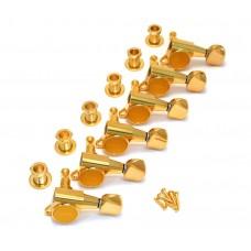 TK-0760-002 Gotoh Gold Sealed 6 Inline Mini Tuners Round Button Fender Guitar