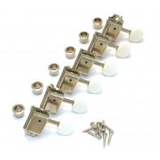 TK-0980-001 Gotoh Nickel 6 Inline White Round Button Vintage Guitar Tuners