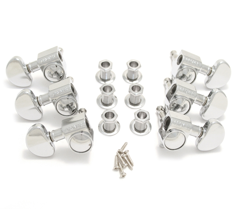 GOLD Set of 6 Grover 102-18G Rotomatic 18:1 Guitar Machine Head Tuners 3x3