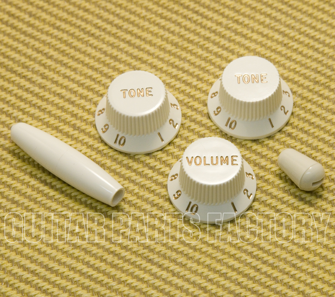 NEW Guitar Volume /& Tone Knob Set With Switch Tip For Fender Strat Parchment