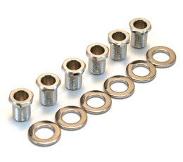 Set of 6 threaded hex bushings 10mm plus washers for guitar machine heads tuners