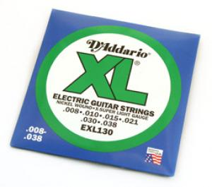 D'ADDARIO XL .008-.038 ELECTRIC GUITAR STRINGS
