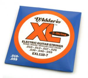EXL110-7 D'ADDARIO 7-String Guitar XL .010-.059 Guitar Strings Extra Light