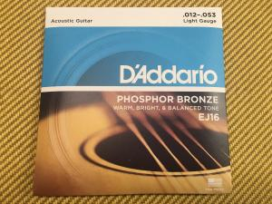 EJ16 D'Addario EJ16 Phosphor Bronze Light Acoustic Guitar Strings .012-.053