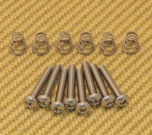 GS-0007-005 Stainless Guitar Pickup Mounting Screws w/ Springs for USA Strat