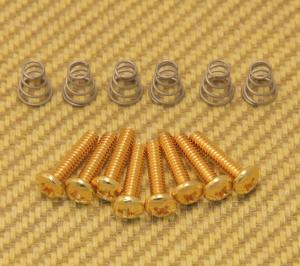 GS-0007-002 Gold Guitar Pickup & Switch Mounting Screws w/Spring USA Strat