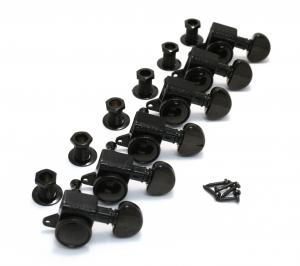 505BC6 Grover Roto-Grip Black 6 Inline Locking Tuners