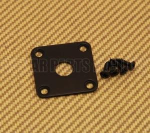 FSJP-B Black Flat Square Metal Jack Plate For Guitar or Bass with Screws