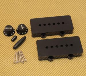 PC-JAZZKIT-B Black Accessory Kit For USA Fender Jazzmaster Guitar - Knobs/Covers/Tips/Screws