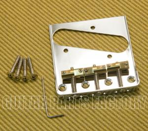 BT005-SS-C Chrome Wilkinson Telecaster Tray Bridge No Logo w/ Cut Out Sides