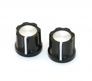 "PK-DKNB (2) Mini Reflector Knobs Black/Silver ""D"" Shaft 6mm for Pedal/Amp"
