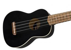 097-1610-706 Fender® California Coast Venice Soprano Ukulele Tele Headstock Uke Black Satin 0971610706