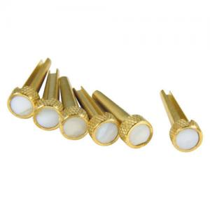 TP3M Brass Mother of Pearl Dot Inlay Acoustic Bridge Pins (6)