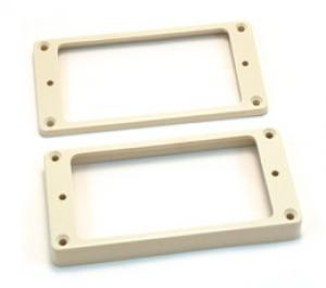 PC-0743-025 Slanted White Plastic Humbucker Guitar Pickup Rings